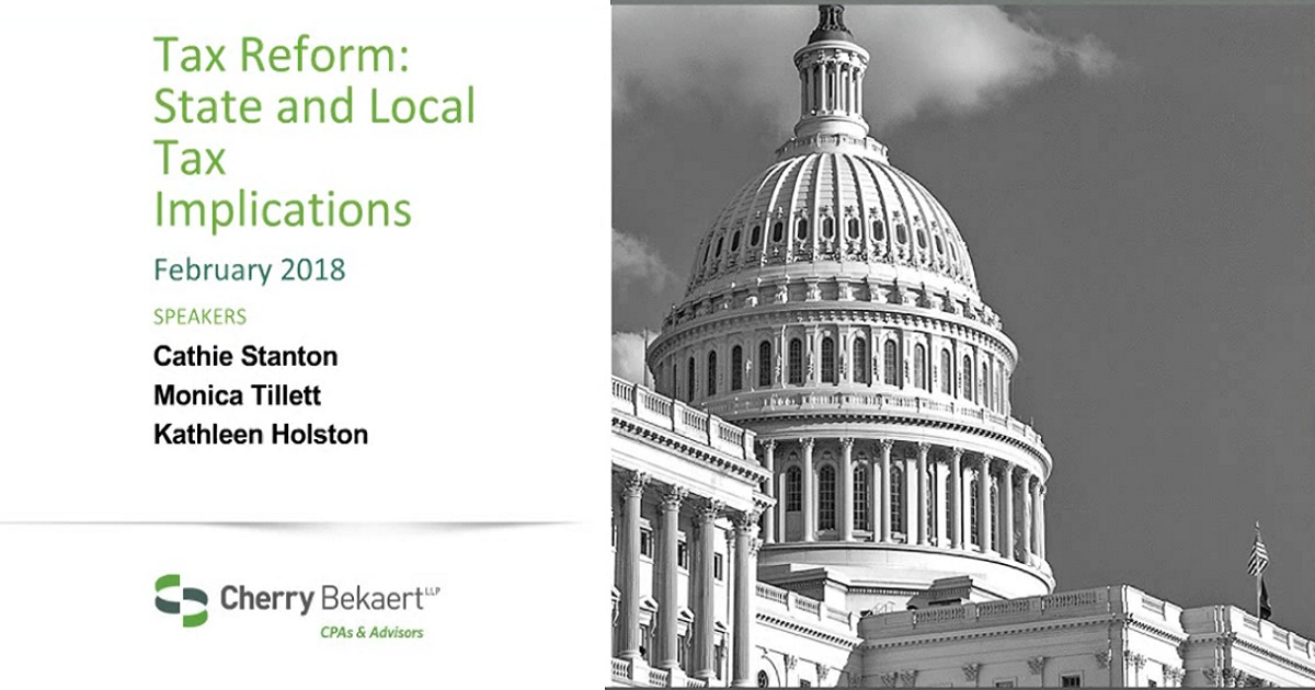 Federal Tax Reform and its Impact on State and Local Taxation