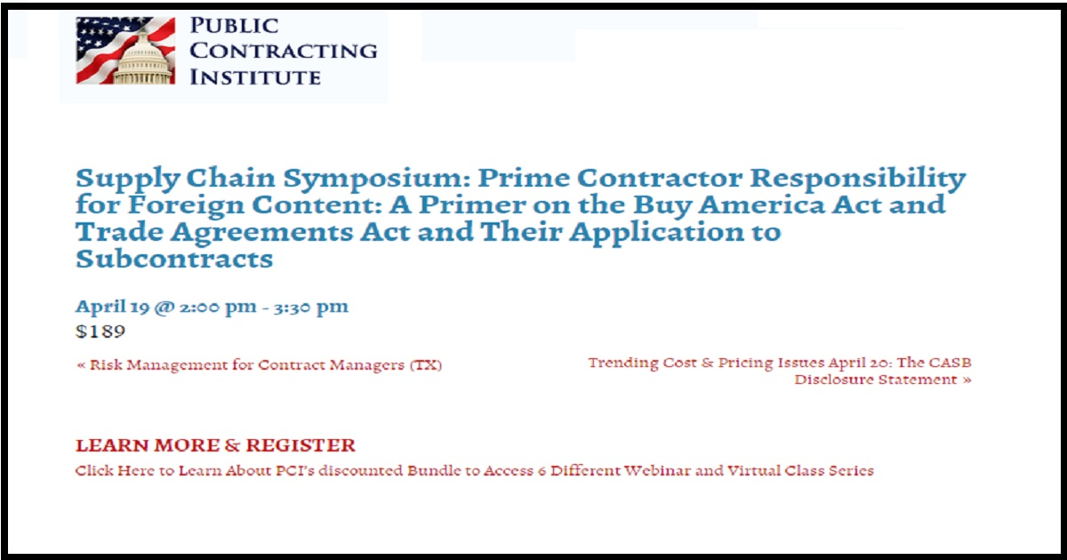 Supply Chain Symposium Prime Contractor Responsibility For Foreign