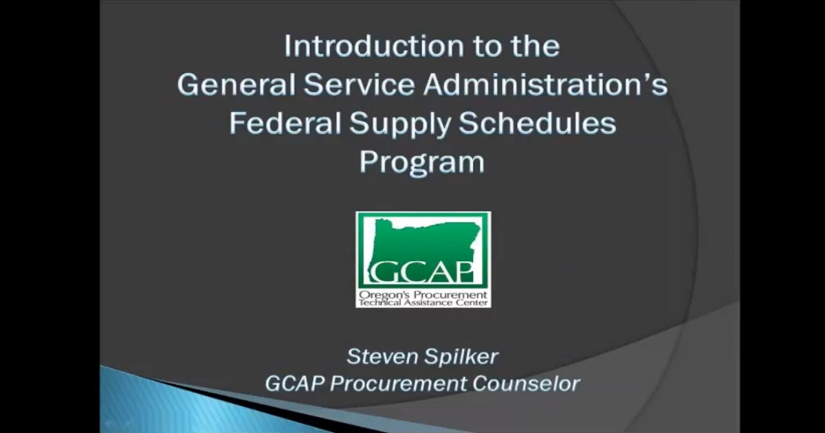 Introduction to GSA Federal Supply Schedules webinar