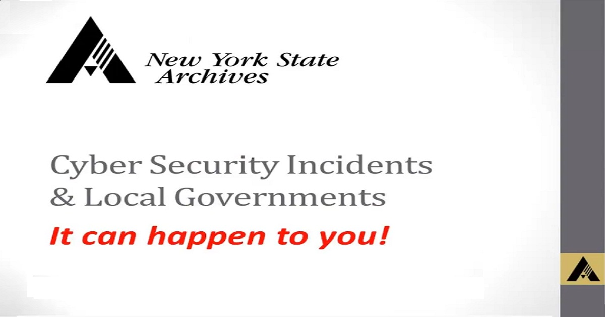 Cyber Security Incidents and Local Governments: A Webinar