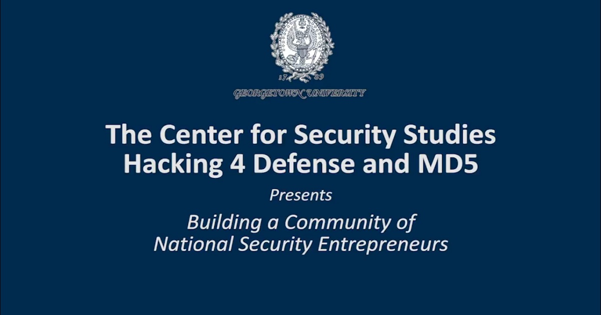 Building a Community of National Security Entrepreneurs