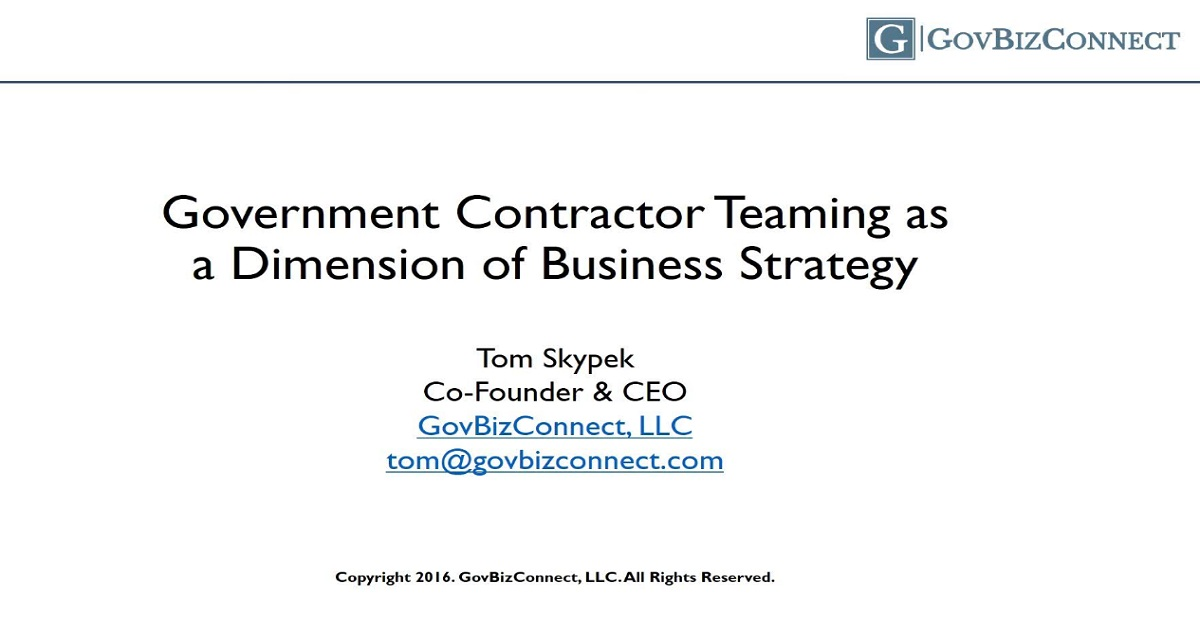 Government Contractor Teaming as a Dimension of Business Strategy