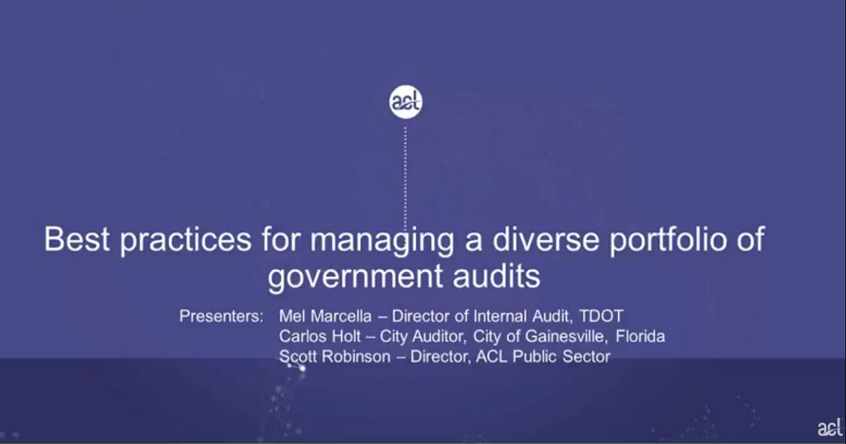 Webinar: Best practices for managing a diverse portfolio of government audits