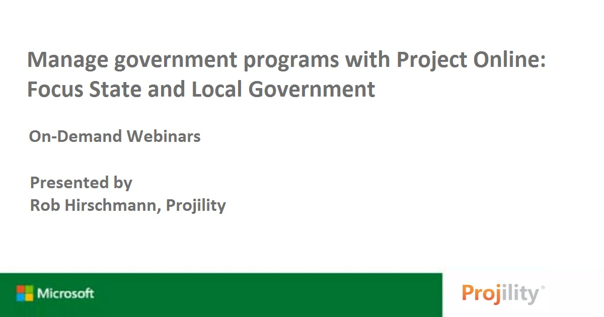 Manage government programs with Project Online: Focus State and Local Government