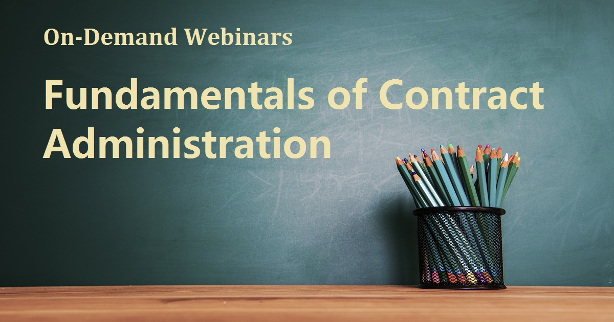 Fundamentals of Contract Administration